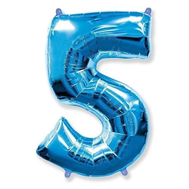 """Фольгированная цифра """"5"""" Синий"""