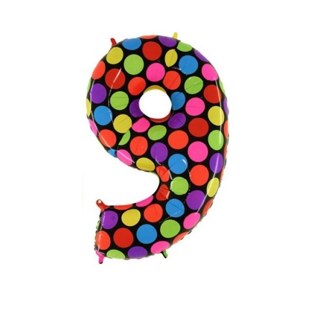 """Фольгированная цифра """"9"""" Разноцветный горошек"""